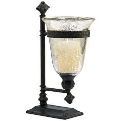 Bello Black Iron and Antique Mirror Glass Candleholder