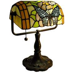 Tiffany Style Butterfly Bankers Desk Lamp