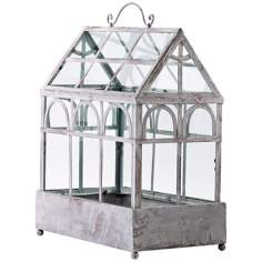 Antique White Iron and Glass Terrarium
