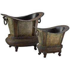Set of Two Footer Tub Smokey Grey with Rustic Iron Planters