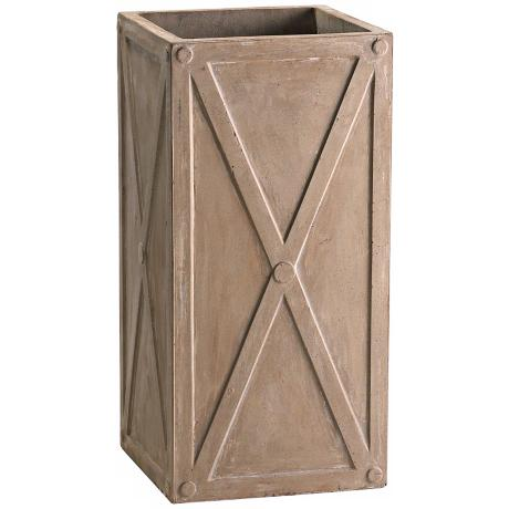 "Large 26 3/4"" High Brown Square Deco Planter"