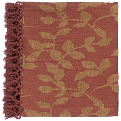 Surya Timora Red and Camel Throw Blanket
