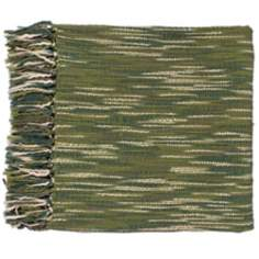 Surya Teegan Ivory and Green Throw Blanket