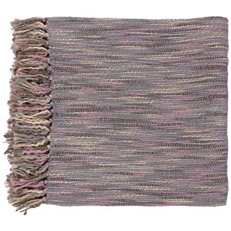 Surya Teegan Gray and Mauve Throw Blanket