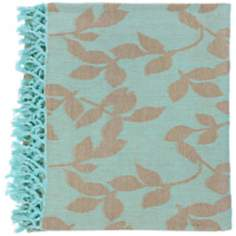Surya Timora Aqua and Tan Throw Blanket