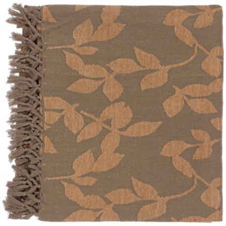 Surya Timora Brown and Camel Throw Blanket