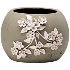 "Lily 7 1/4"" High Smoked Grey Decorative Planter"