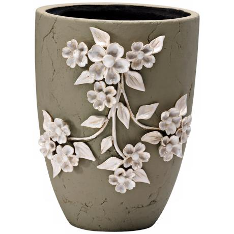 "Lucy 12 1/4"" High Smoked Grey Decorative Planter"
