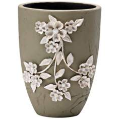 "Lucy 10 1/4"" High Smoked Grey Decorative Planter"