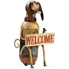 Dog Holding Welcome Sign Statue