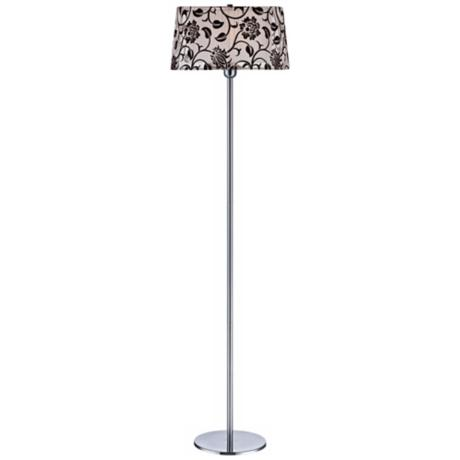 Lite Source Floria Chrome and Organza Floor Lamp