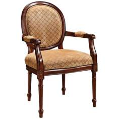 Lisbon Tan Diamond Pattern Warm Brown Accent Chair