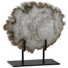 Small Petrified Oak Wood on Iron Stand