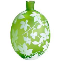Blossom Small Green and White Glass Vase