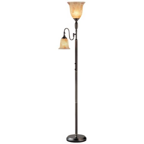 lite source zesiro torchiere floor lamp with reading arm v1415. Black Bedroom Furniture Sets. Home Design Ideas