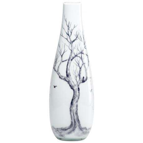 Winter Elm Glass Medium White Vase