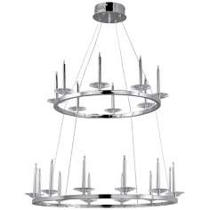 "ET2 Circolo 31"" Wide 20-Light Tiered Chrome Pendant Light"