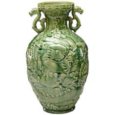 Large Green Apple Singapore Dragon Vase