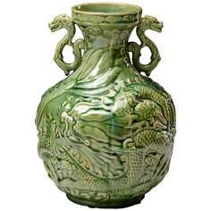 Small Green Apple Singapore Dragon Vase