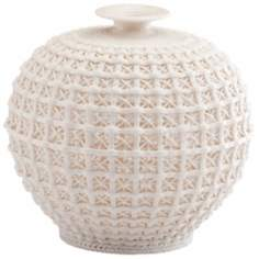 Braided And Lattice Design Matte White Small Diana Vase