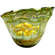 Medium Francisco Green and Yellow Glass Bowl