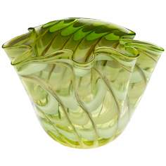 Large Francisco Green and Yellow Glass Bowl