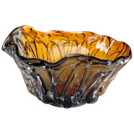 Wavelike Amber and Smoke Colored Duo Art Glass Bowl