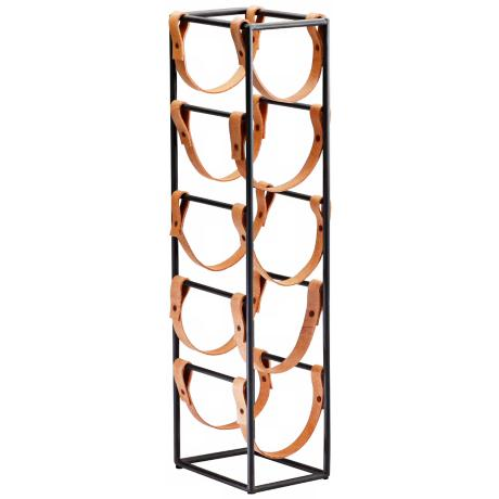 Medium Brighton Iron and Leather Wine Holder