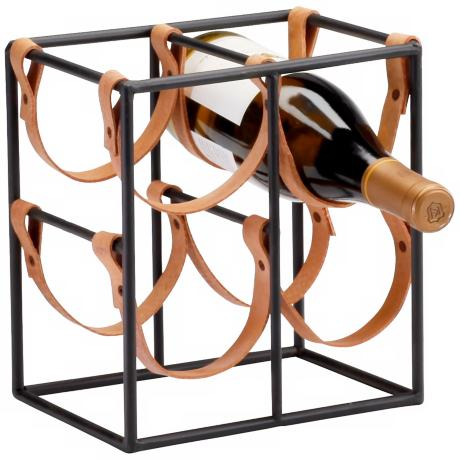 Small Brighton Iron and Leather Wine Holder