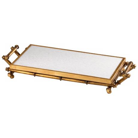 Marble and Gold Finish Bamboo Serving Tray