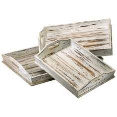 Set of 3 Distressed White Rectangular Wood Trays
