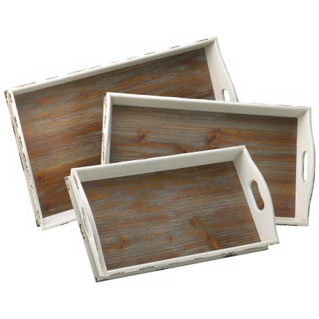 Set of 3 Alder Distressed White and Gray Wood Nesting Trays