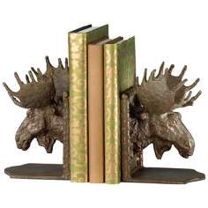 Bronze Finish Moose Head Bookends