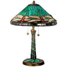 Blue Dragonfly Mosaic Art Glass Dale Tiffany Table Lamp