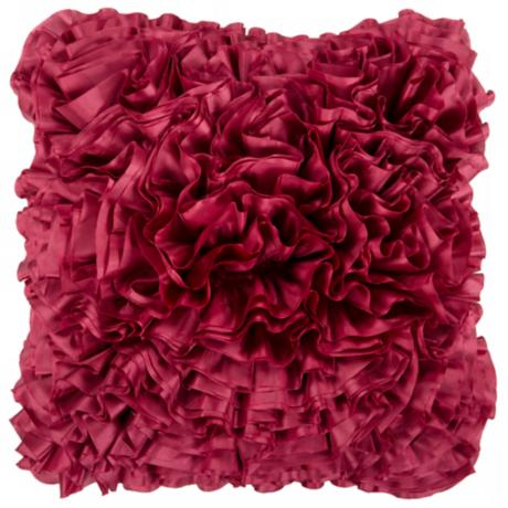 "Surya 18"" Square Cerise Red Ruffled Accent Pillow"