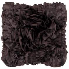 "Surya 18"" Square Black Cola Ruffled Accent Pillow"
