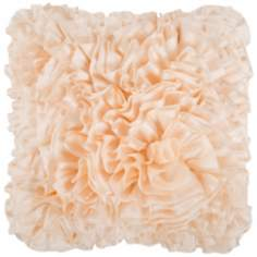 "Surya 18"" Square Ecru Ivory Ruffled Accent Pillow"