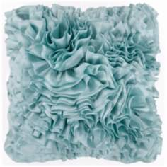 "Surya 18"" Square Light Blue Haze Ruffled Accent Pillow"