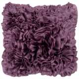 "Surya 18"" Square Purple Plum Ruffled Accent Pillow"