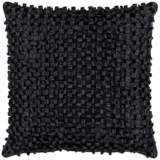 "Surya Looped 18"" Square Caviar Black Throw Pillow"