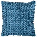 "Surya Looped 18"" Square Pacific Blue Throw Pillow"