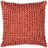 "Surya Looped 18"" Square Clay Red Throw Pillow"