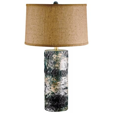 Natural Aspen Birch Bark Table Lamp