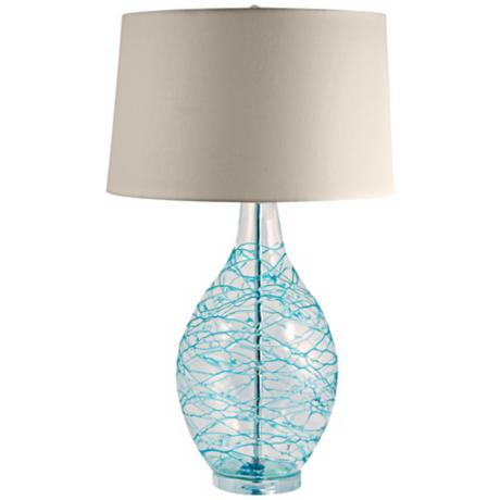 Blue Glass Swirl Over Clear Glass Table Lamp