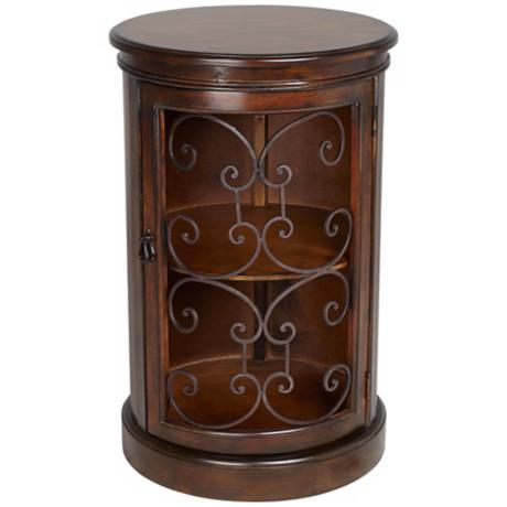 Laurent Drum Accent Table with Metal Details