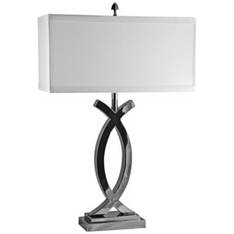 Pisces Polished Nickel with Cotton Shade Table Lamp