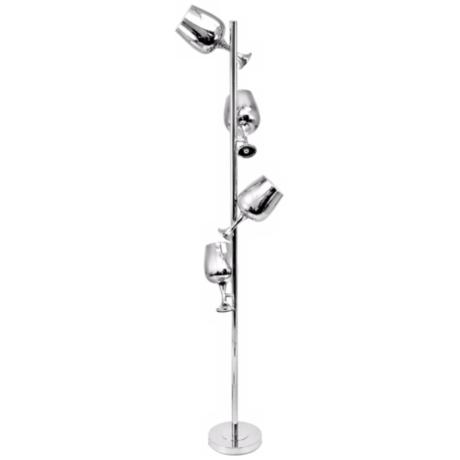 Novelty 4-Light Goblet Floor Lamp with Chrome Finish