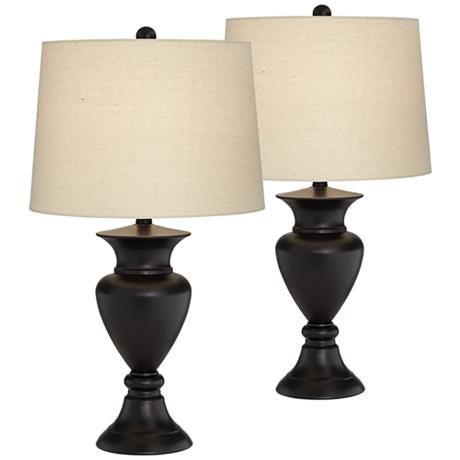 set of 2 metal urn bronze table lamps. Black Bedroom Furniture Sets. Home Design Ideas
