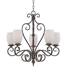 "Maya Mottled Silver 27"" Wide 5-Light Quoizel Chandelier"
