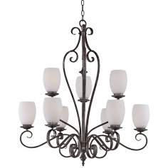 "Maya Mottled Silver 32 1/2"" Wide 9-Light Quoizel Chandelier"